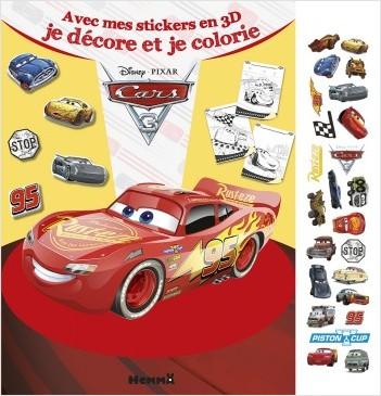 CARS 3 avec mes stickers en 3D, je décore et je colorie